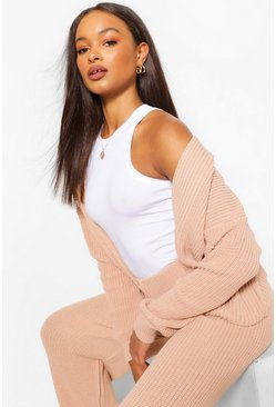 Nude Crop Cardigan Wide Leg Knitted Coord