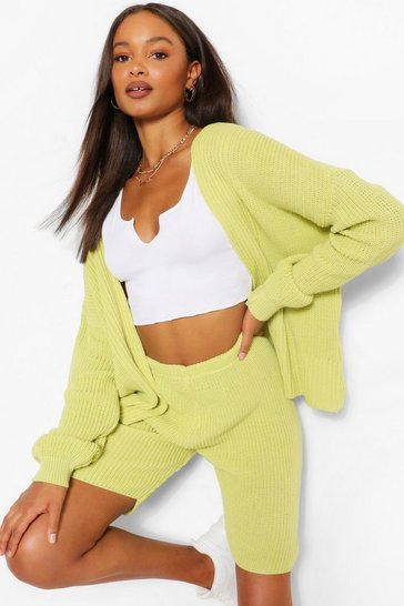 Soft lime Knitted Crop Cardigan And Shorts Co-ord