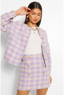 Lilac purple Dogtooth Collarless Button Blazer