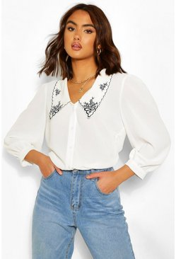 White Cotton Mix Embroidered Plunge Shirt