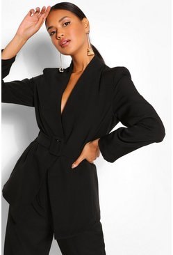 Black Collarless Belted Blazer