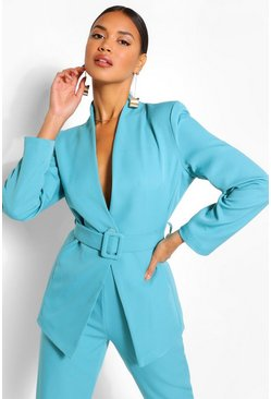 Bright blue Collarless Belted Blazer