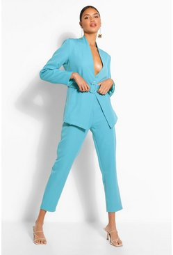 Bright blue Crop Straight Leg Trouser