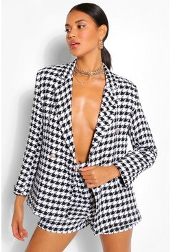 Black Dogtooth Gold Button Double Breast Blazer