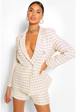Lilac Dogtooth Gold Button Double Breast Blazer
