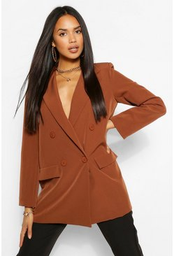 Blazer extragrande de doble botonadura, Chocolate