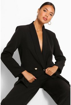 Black Tailored Relaxed Pearl Button Blazer