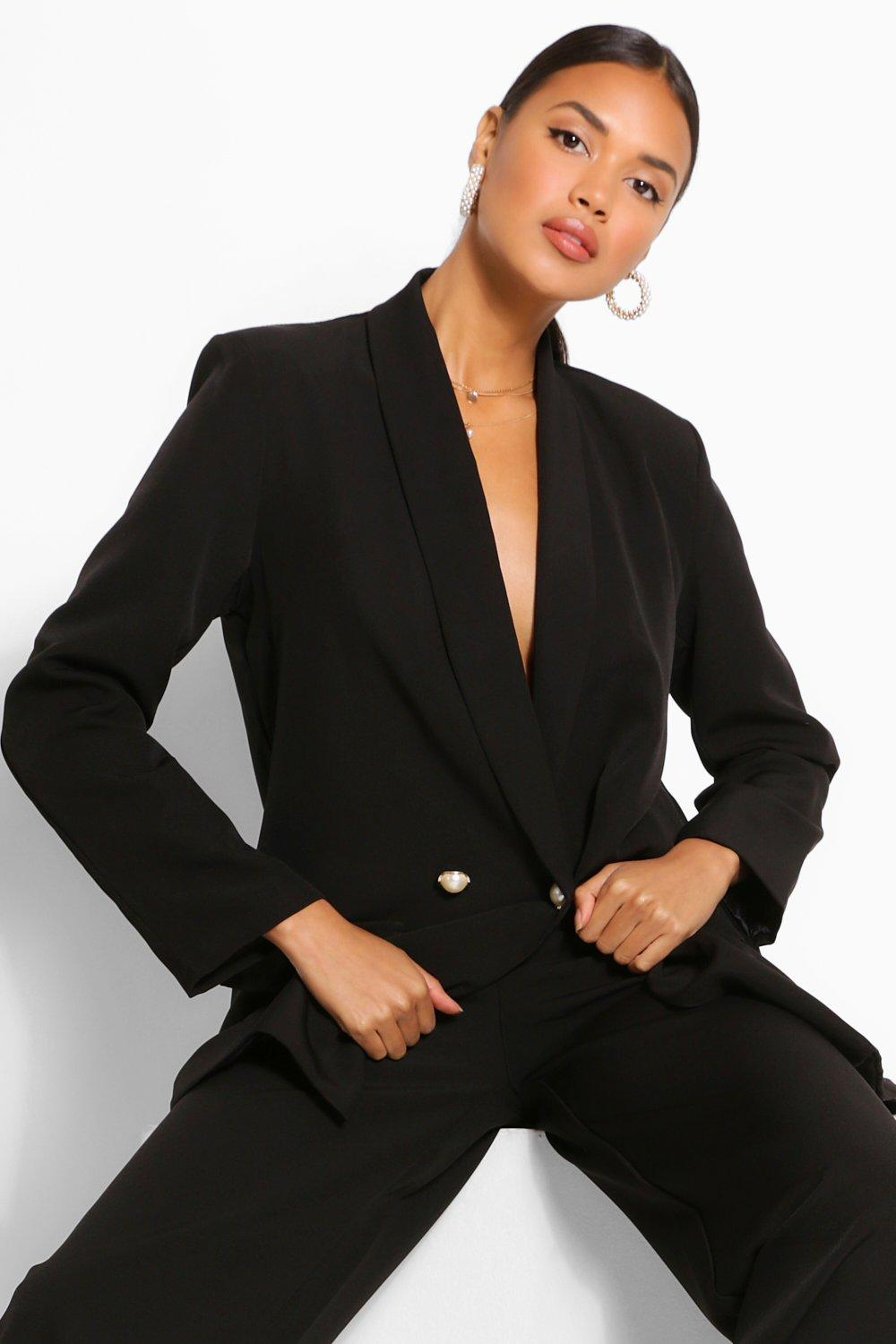 Blazers Tailored Relaxed Pearl Button Blazer