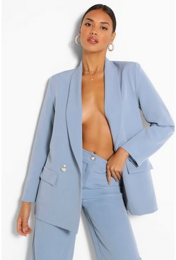 Blue Tailored Relaxed Pearl Button Blazer