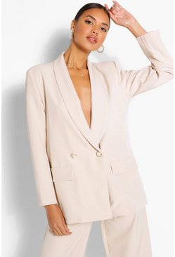 Stone beige Tailored Relaxed Pearl Button Blazer