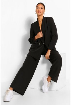 Black Wide Leg Pearl Button Pants