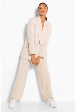 Stone Wide Leg Pearl Button Trouser