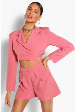 Apricot Tailored Wrap Tie Crop Blazer