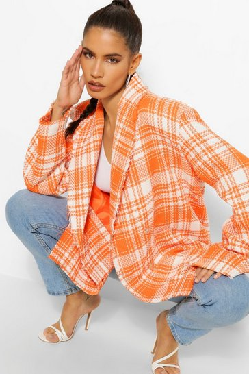 Orange Check Boucle Double Breasted Boxy Blazer