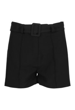 Black Tailored Seam Self Fabric Buckle Shorts