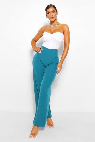 Teal green Woven Seam Flare Trousers