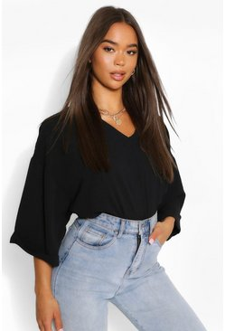 Black Woven Oversize Roll Sleeve Blouse