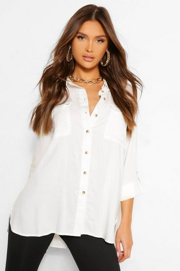 Ivory white Pocket Front Blouse With Turn Up Cuffs