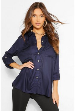 Navy Pocket Front Blouse With Turn Up Cuffs