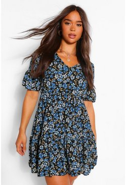 Blue Ditsy Floral Flute Sleeve Skater Dress