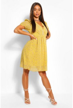 Yellow Ditsy Floral Button Through Skater Dress