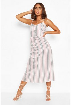 White Stripe Strappy Button Detail Midi Skater Dress