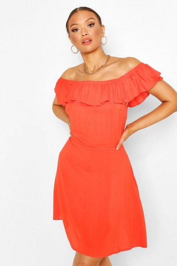 Red Off The Shoulder Ruffle Skater Dress