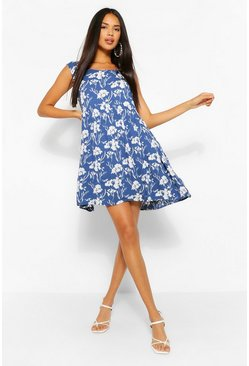Blue Floral Sleeveless Smock Dress