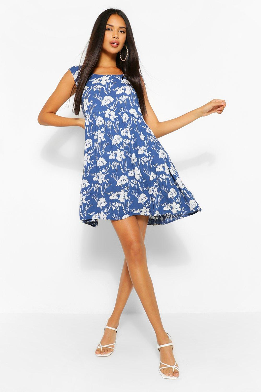 Womens Sale Floral Sleeveless Smock Dress