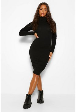 Black Long Sleeve Roll Neck Midi Dress