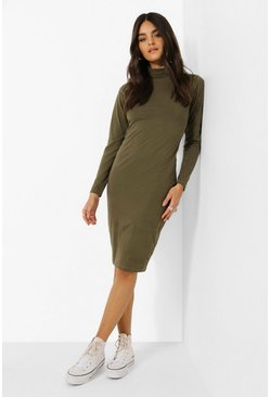 Khaki Long Sleeve Roll Neck Midi Dress