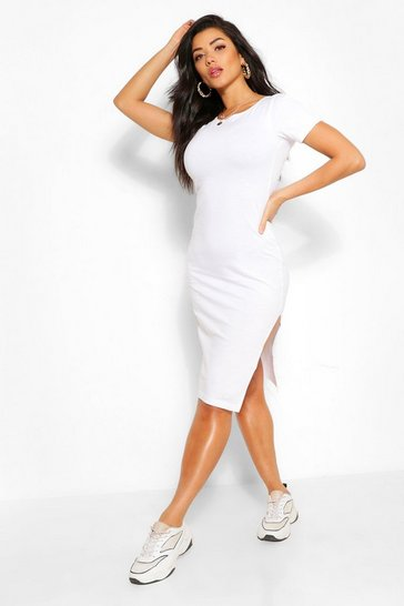 White Short Sleeve Midi Split T-Shirt Dress
