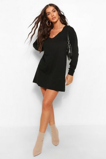 Black Long Sleeve V Neck T-shirt Dress