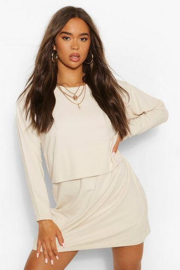 Stone beige Long Sleeve Crew Neck Oversized T-Shirt Dress