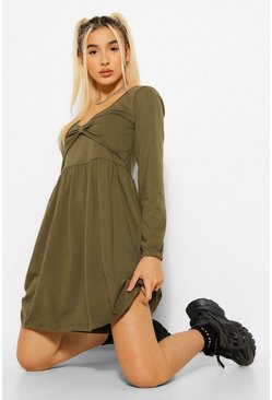 Khaki Long Sleeve Twist Front Skater Dress