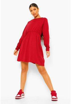 Berry Long Sleeve Crew Neck Smock Dress