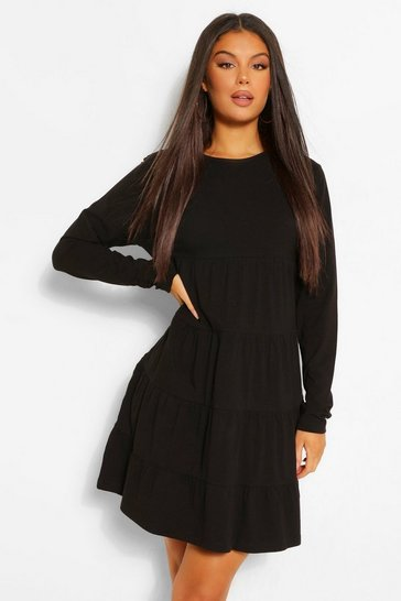 Black Long Sleeve Crew Neck Tiered Smock Dress