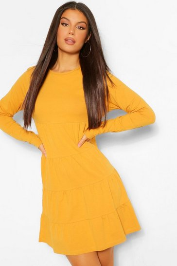 Mustard yellow Long Sleeve Crew Neck Tiered Smock Dress