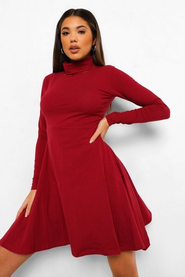Berry red Long Sleeve High Neck Skater Dress