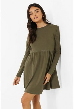 Khaki Long Sleeve Crew Smock Dress