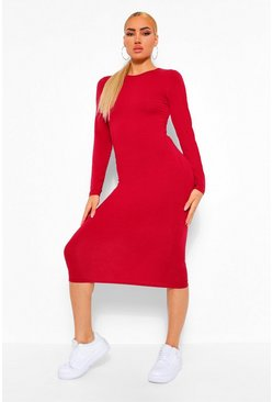 Berry red Long Sleeve Crew Neck Midi Bodycon Dress