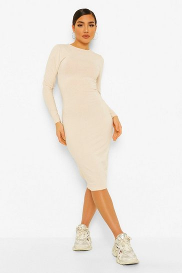 Stone beige Long Sleeve Crew Neck Midi Bodycon Dress