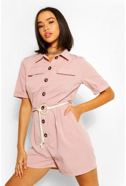 Pink Button Through Belted Ultility Playsuit