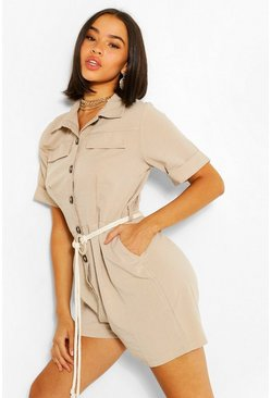 Stone Button Through Belted Ultility Playsuit