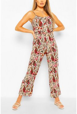 Red Woven Paisley Print Strappy Cami Jumpsuit