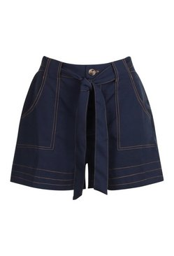 Navy Woven Contrast Stitch High Waist Belted Shorts