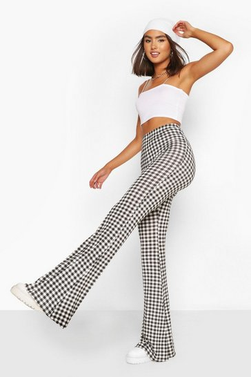 Black Mini Gingham Jersey Flares