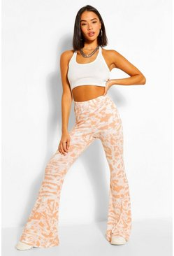 Peach orange Ombre Tie Dye Jersey Flares