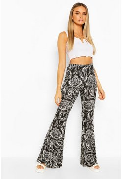 Black Paisley Print Jersey Flares