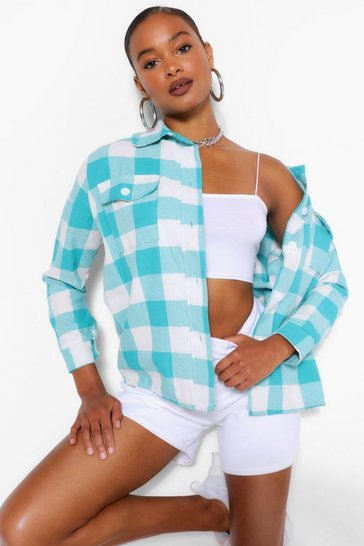 Turquoise blue Oversized Check Sacket